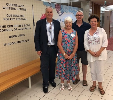 Author C T Mitchell and fellow panelists at the Queensland Writers Centre.