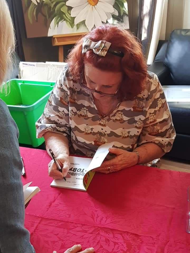 Author Janet Reid at the book signing of Trouble for Toby.