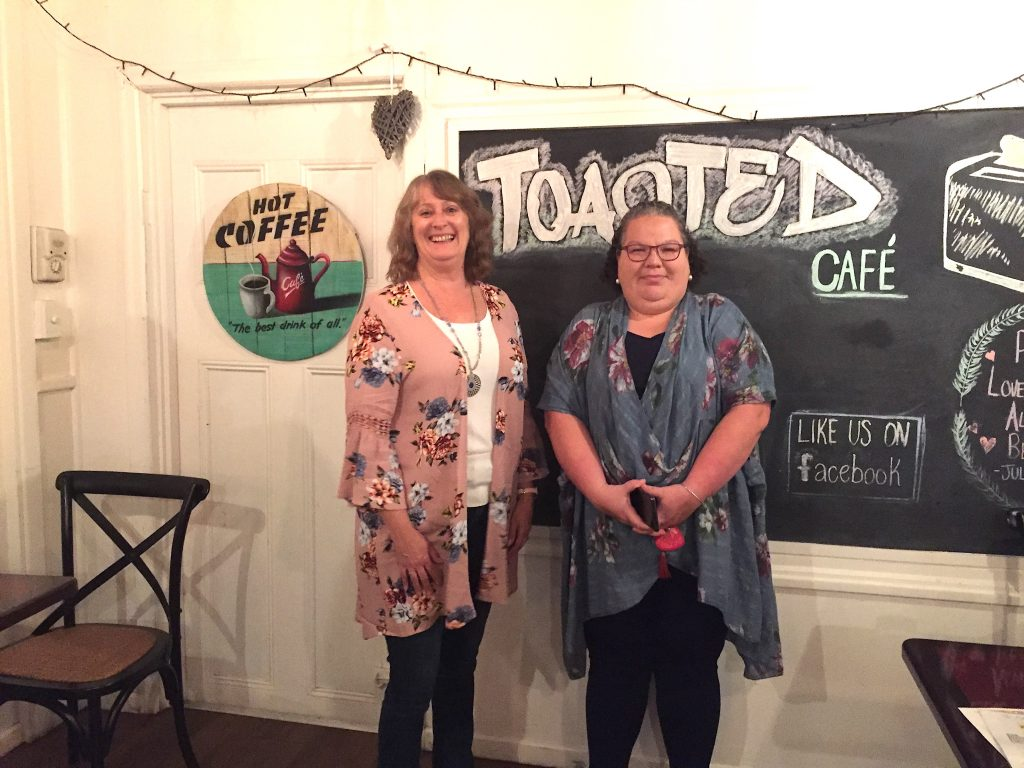 Vicki Stevens and Tracey Lloyd loved reading at Wild Readings at Toasted Cafe.